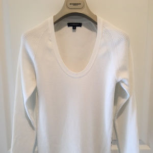 Burberry Women Med. White Long Sleeve Thermal Top